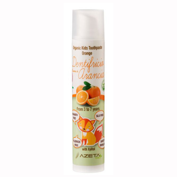 Organic toothpaste for kids with xylitol. Orange flavour
